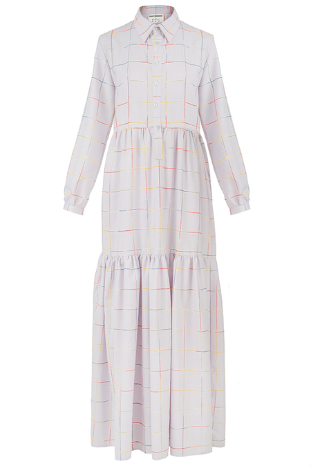 N-DUO dress - Violet checkered