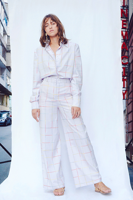 N-DUO pants - Violet checkered