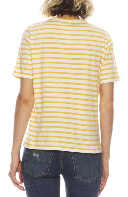 Kule The Modern Short Sleeve Stripe Shirt - CREAM/MARIGOLD