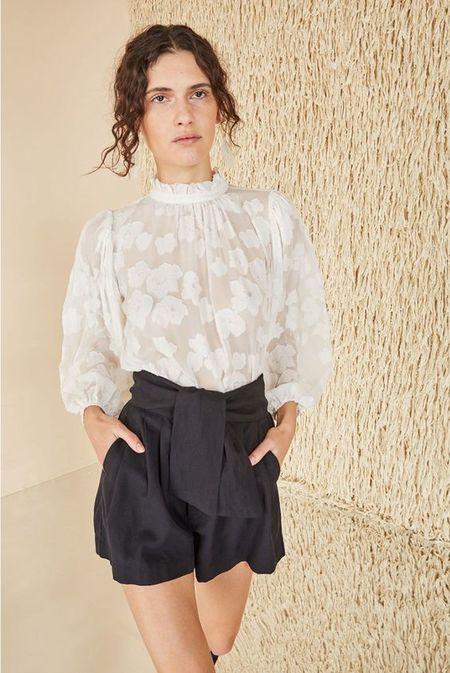Ulla Johnson silk floral ruffle collar blouse - white