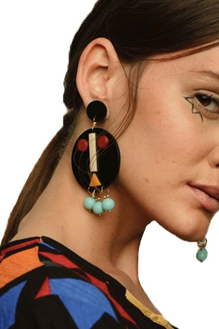 Disco Rojo The Face Earring