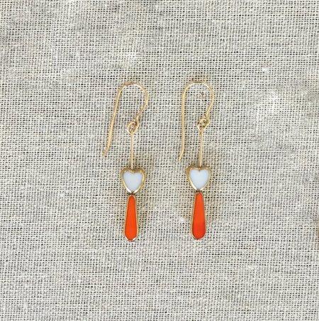 I. Ronni Kappos Tear Heart Earrings - Orange