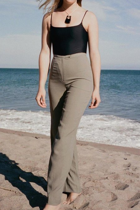 Vintage Casia High Rise Straight Leg Trousers - Grey/Green/Black