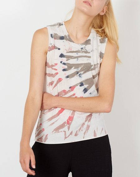 Raquel Allegra Fitted Muscle Tee - White Mountain Tie Dye