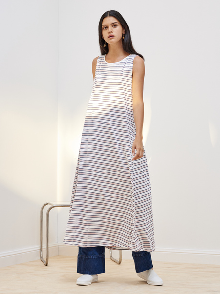 Kowtow Building Block Tank Swing Dress in Rose Navy Stripe