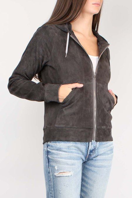 STOULS Zip Up Hoodie Suede Jacket - Chartreux