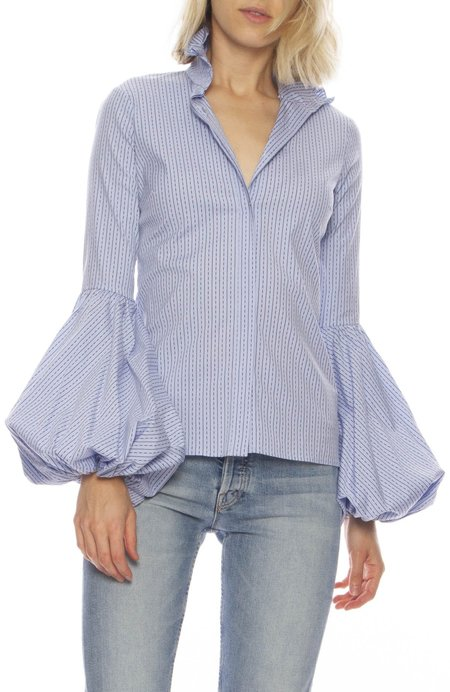 CAROLINE CONSTAS Jacqueline Lantern Sleeve Blouse - BLUE