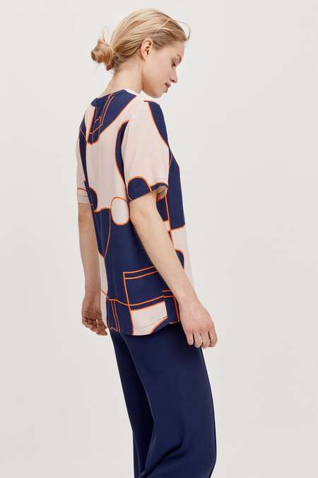 STORM & MARIE bold printed short sleeve blouse