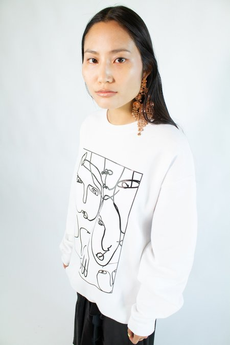 NIKA TANG White Portrait Sweatshirt