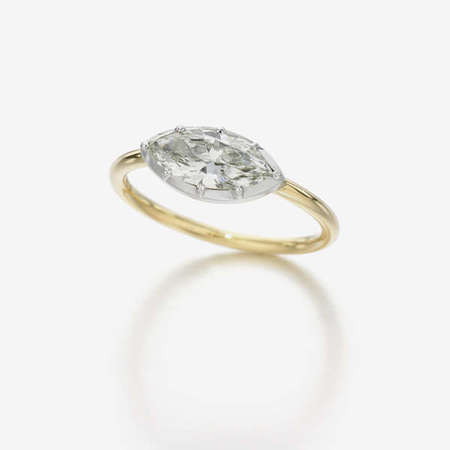 Jessica McCormack Button back marquise diamond ring - 18k gold