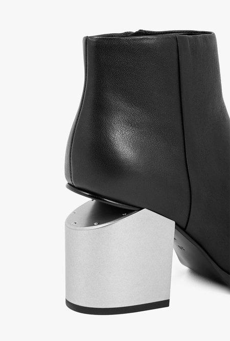 ALEXANDER WANG Gabi Tumbled Calf Silver Heel - BLACK
