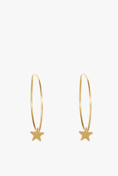 Seoul Little Large Star Hoop Earrings - 14k Gold