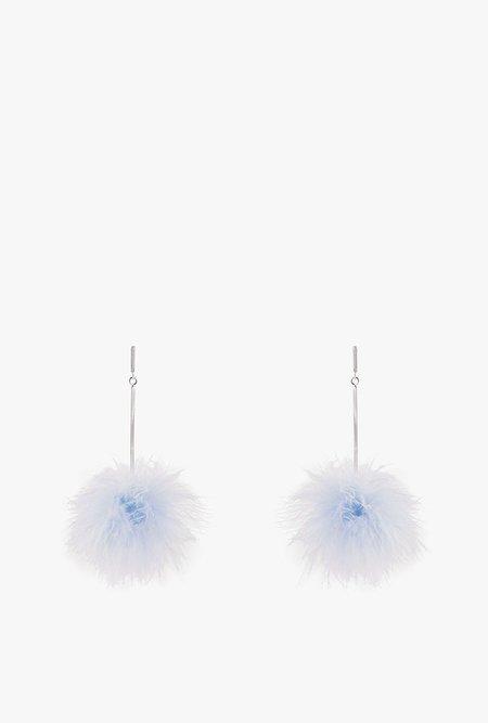 Tuleste Mini Marabou Pom Earrings - ICE BLUE