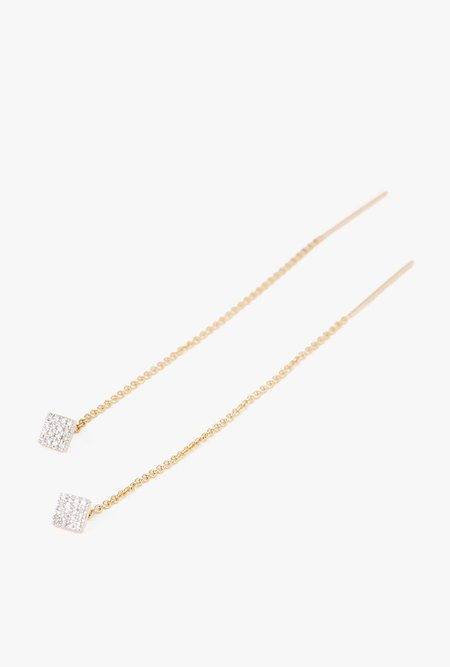 Eriness Pave Diamond Square Threader Earrings - 14k Gold/White Diamond