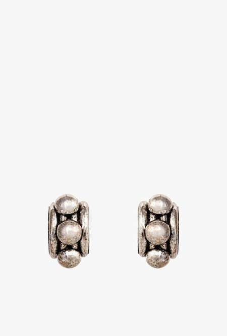 Nicole Romano Arched Tube and Dome Earrings - Antiqued Rhodium