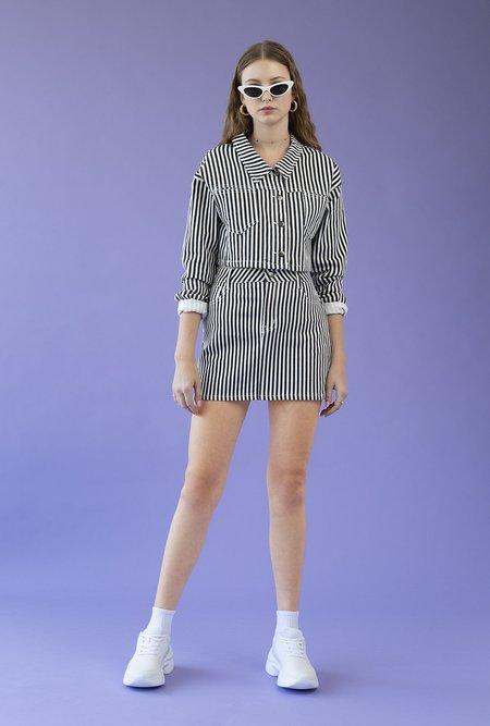 Azalea Stripe High Waist A-Line Skirt - Black/White