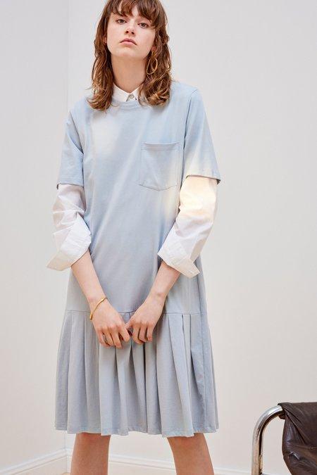 Kowtow Building Block Pleated Tee Dress - Powder Blue