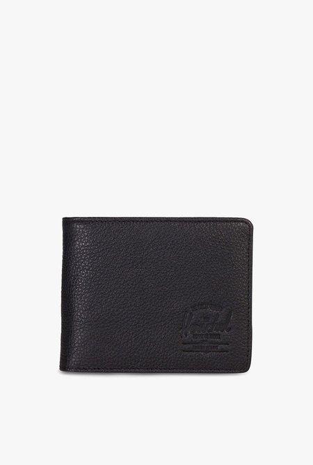 HERSCHEL SUPPLY CO Hank Leather Wallet - PEBBLE BLACK