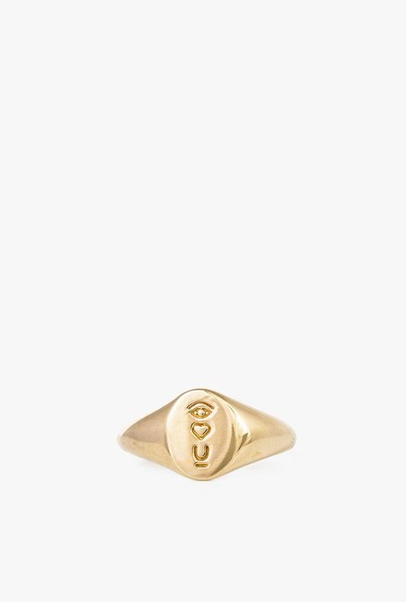 I Like It Here Club Satellite of Love Signet Ring - BRASS