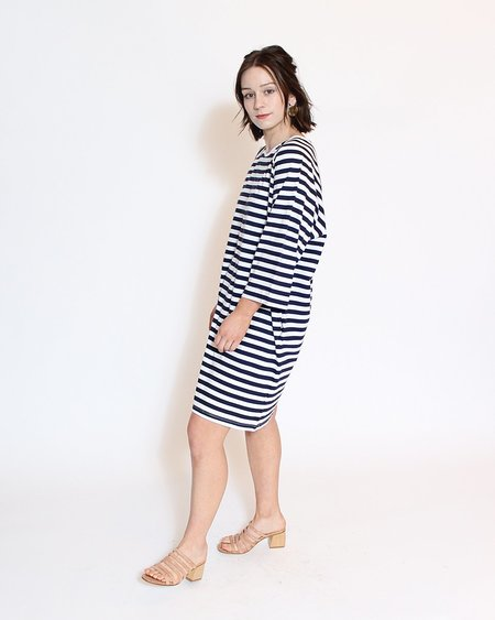 Kowtow Building Block Oversized Tee Dress - Blue and White Stripe