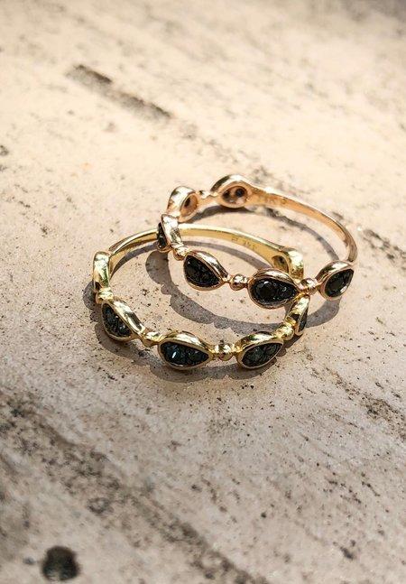 Pratiksha Blue Diamond Stacking Ring - Yellow Gold