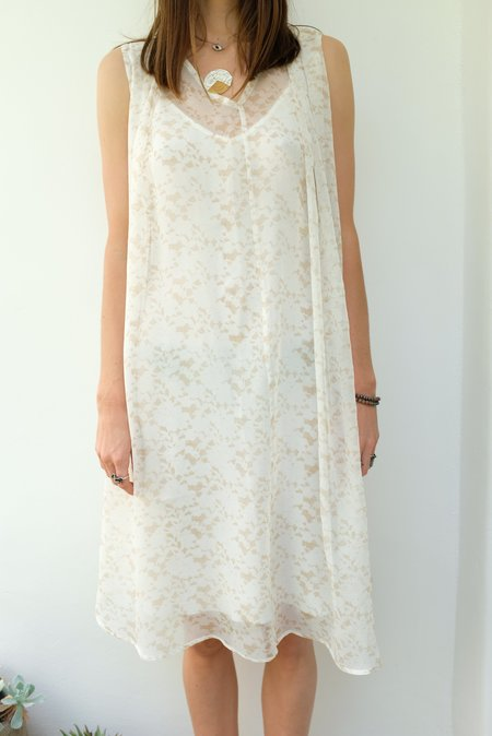Beklina Basta Silk Dress Coco Lace - white/brown