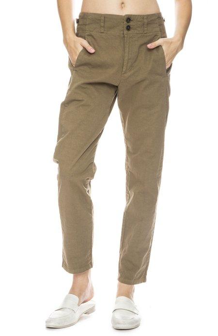 Pas De Calais Cotton Pant With Button Tabs - Khaki