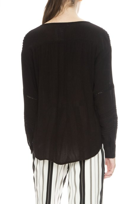 Amuse Society Zelia Lace Inset Pintuck Blouse - Black