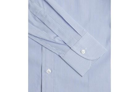 Drake's Regular Fit Stripe Poplin with Spread Collar - Blue and White