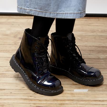 T.U.K. Oil Slick Boots - Iridescent black