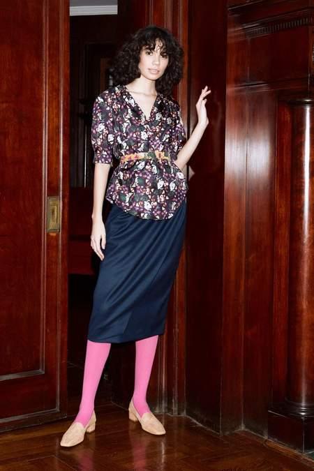 Christine Alcalay Short Sleeve Button Down Shirt - Aubergine Print