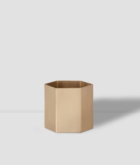Ferm Small Hexagon Pot - Brass