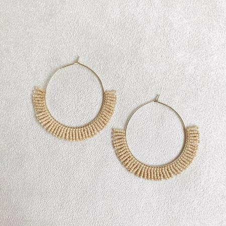 Betty Alida Beaded Hoop Earrings - Ecru