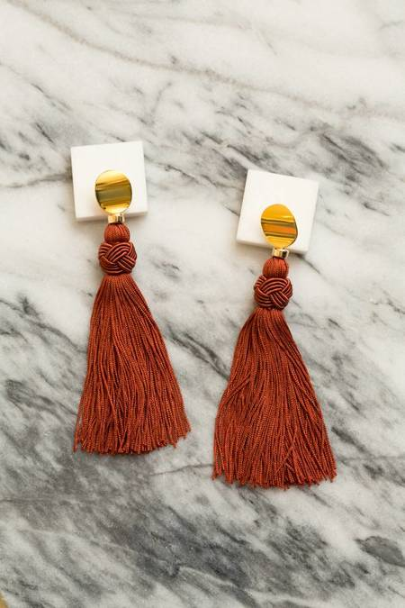 Lizzie Fortunato Sienna Luxe Tassel Earrings - GOLD/BURGUNDY