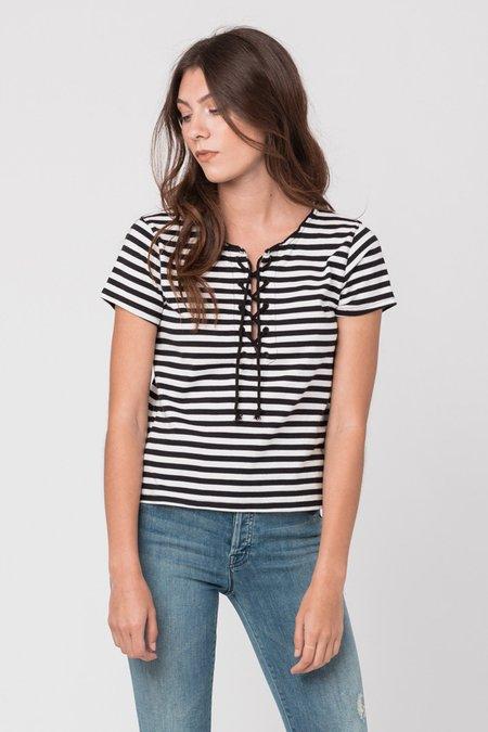 Mother Denim Tie Up Cropped Tee - Black/White Stripe