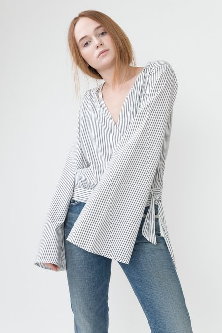 PAIGE MARIANNA BLOUSE - White with stripes