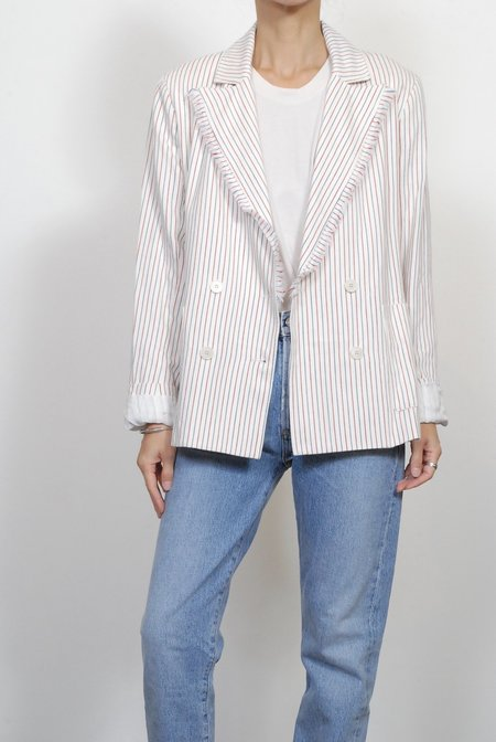Raquel Allegra Double Breasted Blazer - Natural Red Blue