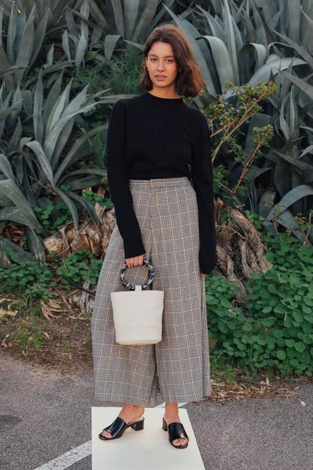 Bassike Wide Leg Check Pant - Check