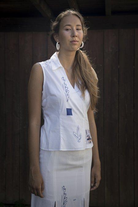 Projekt Eva Vintage Sleeveless Top - White