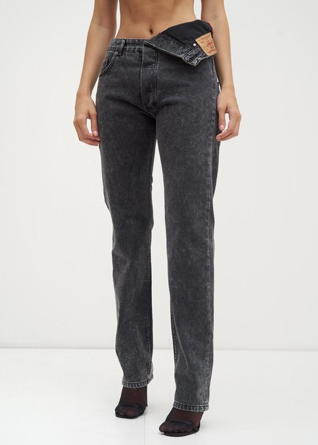 Y/project Asymmetric Waist Jeans - Black Stonewash