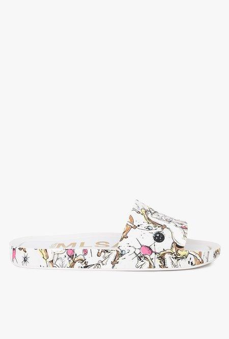 Melissa Beach 3DB Rain Slide - White/Beige/Pink