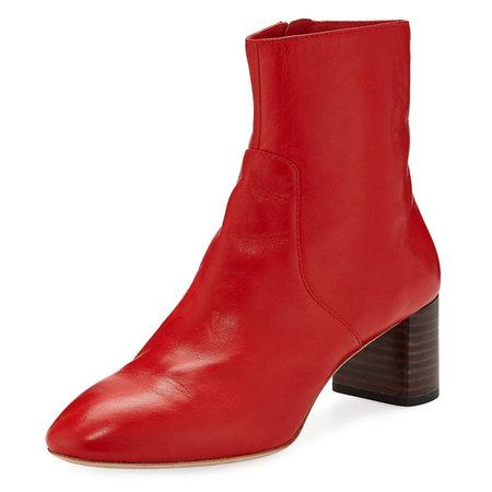 Loeffler Randall Gema Almond Toe Mid Heel Boot - Cherry Red