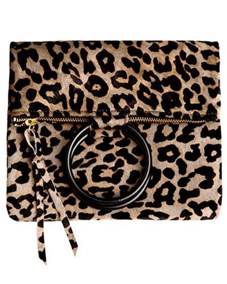Oliveve laine brass ring bag - leopard hair calf