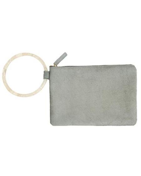 Oliveve murphy bracelet clutch with frosted resin ring - sage haircalf