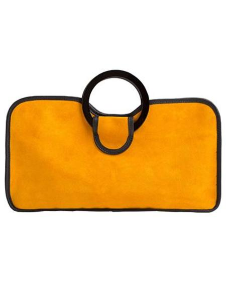 Oliveve simone cow leather with resin handles tote - marigold suede