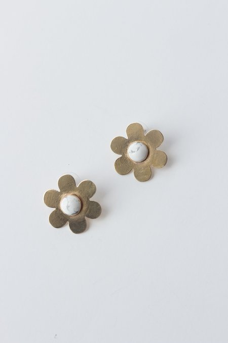 Cities In Dust Medium Daisy Earrings with Howlite Stone