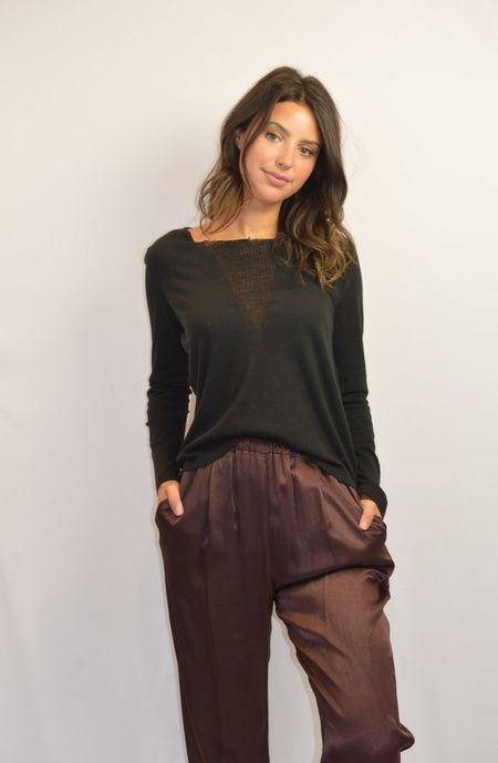 Raquel Allegra Shred Front Long Sleeve Tee - Black