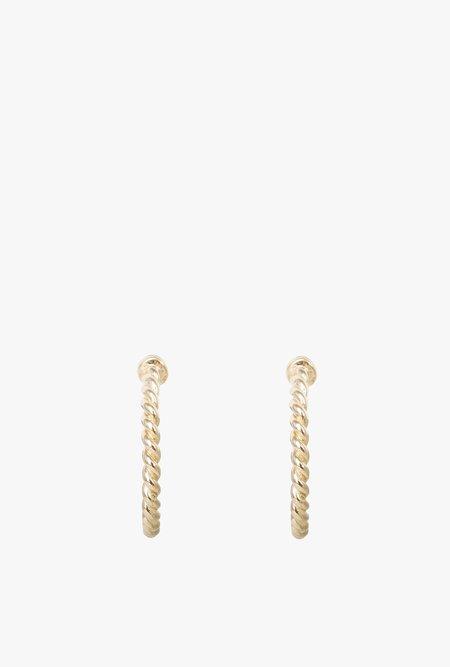 Loren Stewart Rope Huggie Earrings - 14k Gold