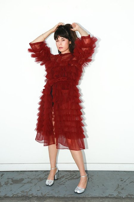 Molly Goddard Fully Frilled Coat with Pockets - Burgundy