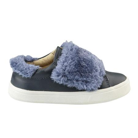 KIDS Old Soles Child Fur Master Shoes - Navy With Blue Rinse Fur